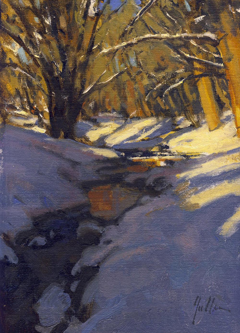 "Winter Stream (Study for Glow) | 12"" x 9"" | Original Oil Painting | $1,350 | By Bill Gallen"