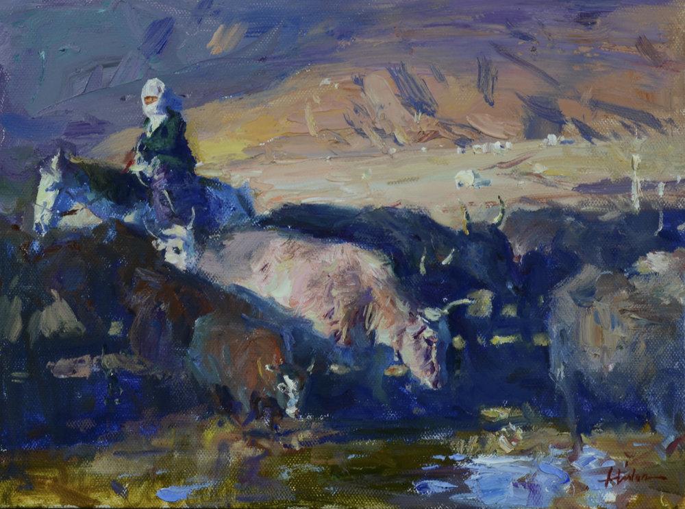 "Pasture Light | 9"" x 12"" | Oil | $3,900"