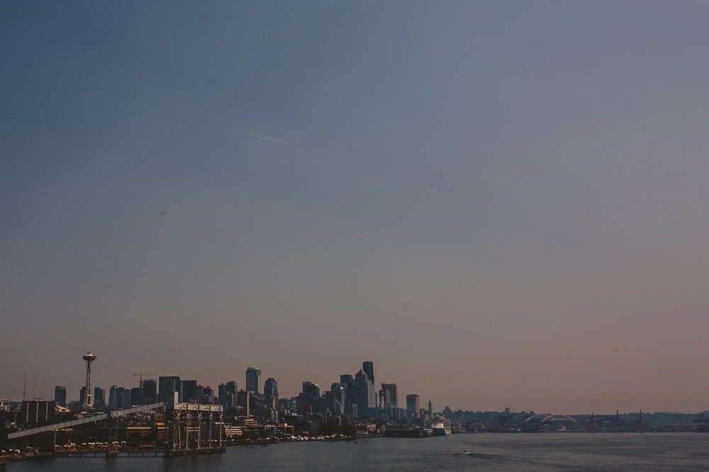 seattle skyline from the ship balcony