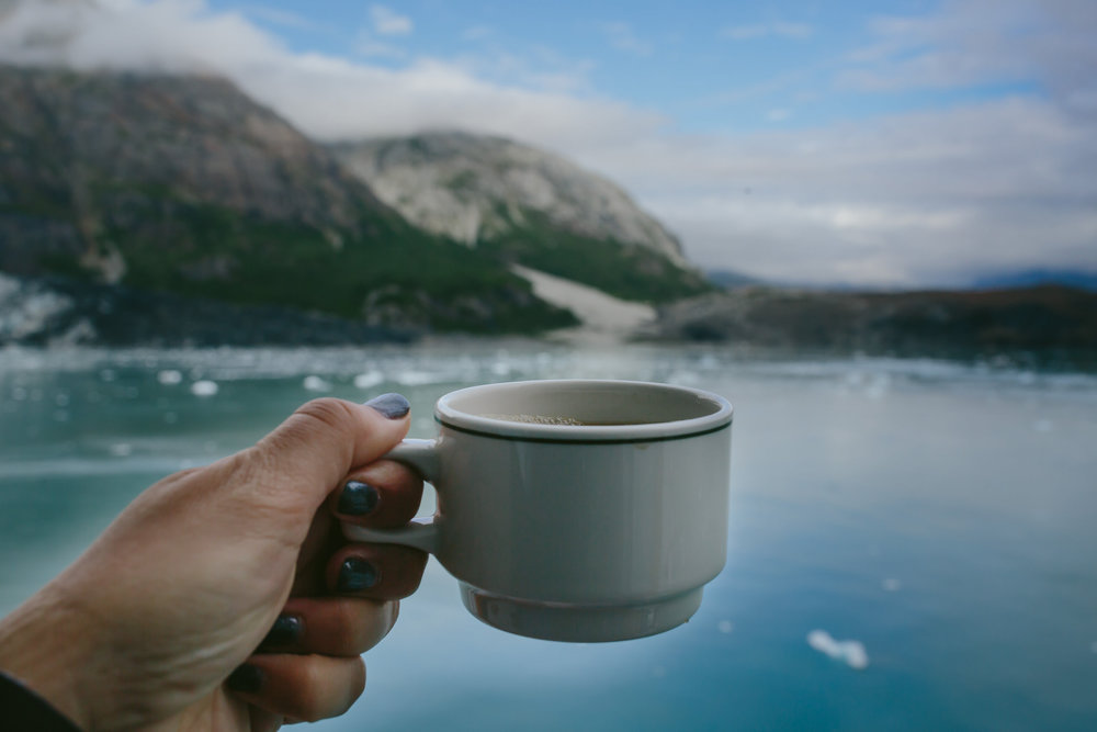 i enjoyed coffee on our balcony and taking in the breathtaking views at glacier bay. it was unreal.