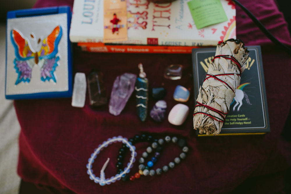 my morning rituals. affirmations. sage. crystals. cards.