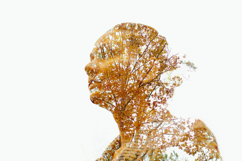 double exposure self portrait with fall leaves in roswell georgia