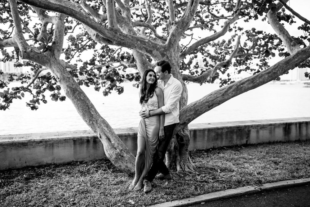 couple sitting in a tree black and white portrait west palm beach