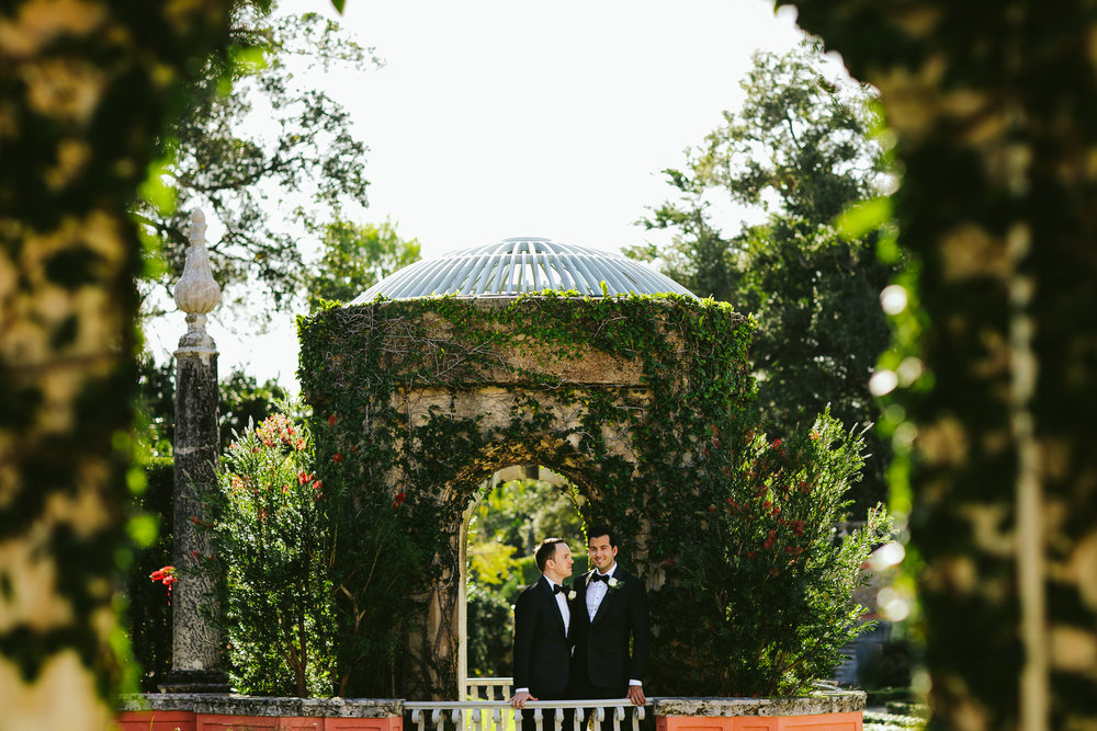 Beautiful Portrait of a Same Sex Couple at Vizcaya Gardens in Miami, FL