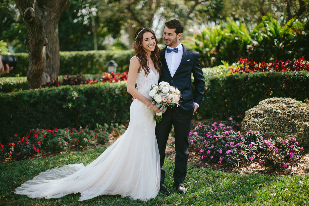Stunning portrait of Bride and Groom at Thalatta Estate in Palmetto Bay, FL