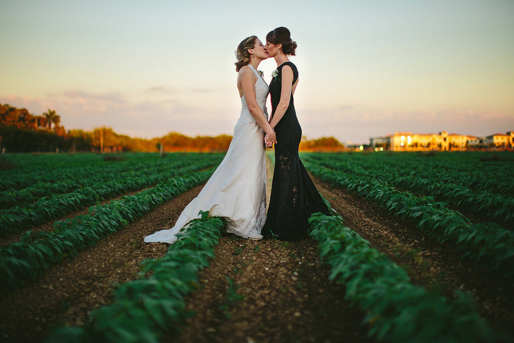Gorgeous Brides kissing in the farm fields across from Redland Koi Gardens.