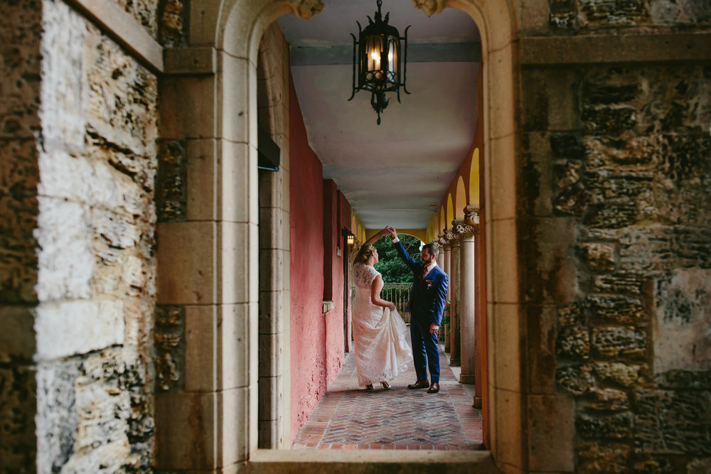 Adorable Capture of a Bride and Groom dancing at the Deering Estate in Miami