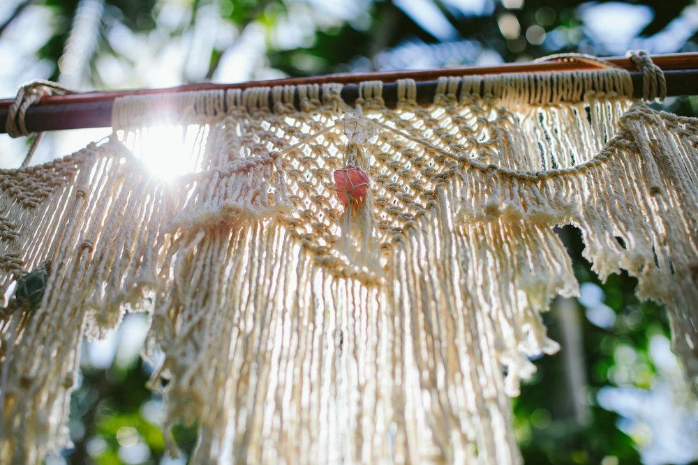 Macrame hand made courtesy of Knots by Linda