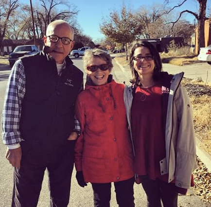 Geoff's parents and oldest sister  on a neighborhood walk