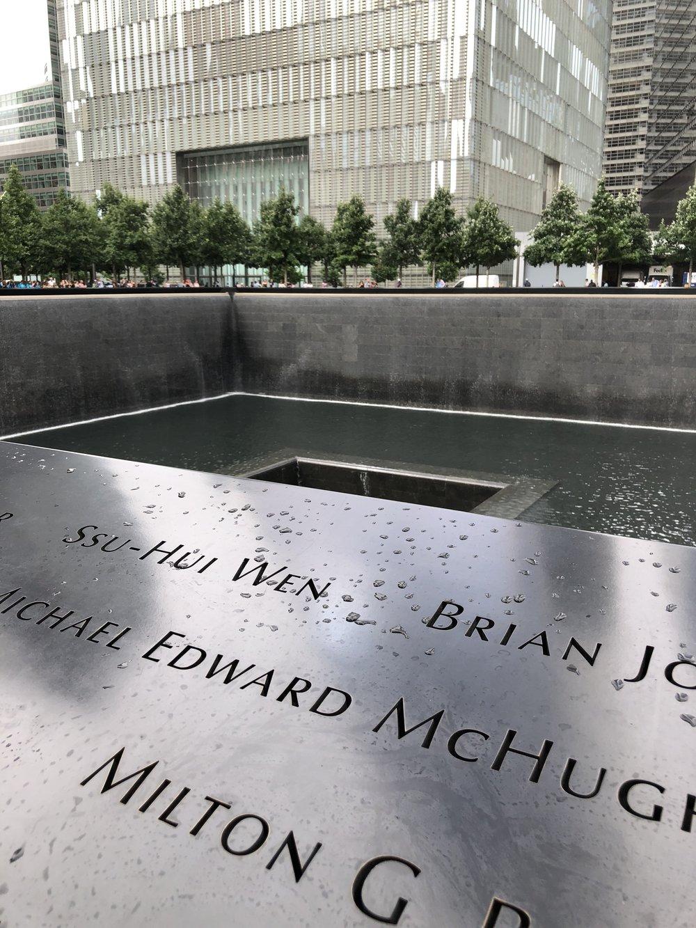 Image taken by Samantha McHenry, 9/11 Memorial, 2018.