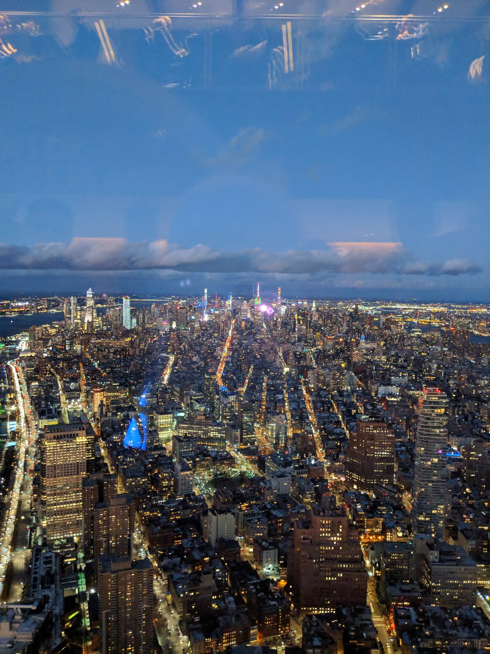 One World Observatory view after sunset. Such a cool experience - definitely exceeded my expectation. The reveal once you get to the top is INCREDIBLE!
