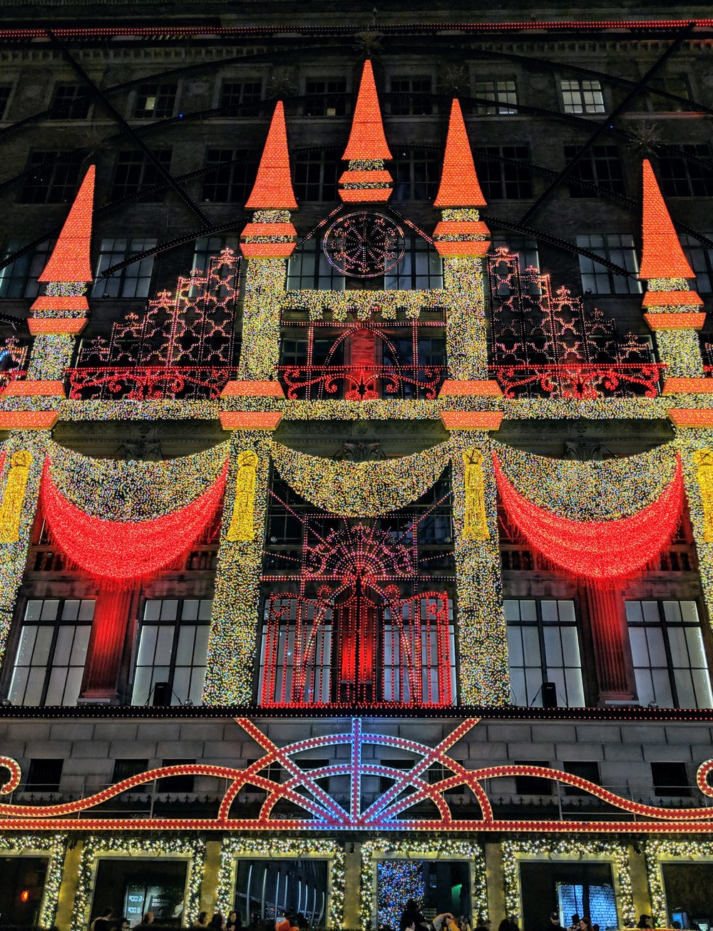 Sak's Fifth Avenue on 5th Ave. - this was a shot from the light show. Super Christmas-y and festive!