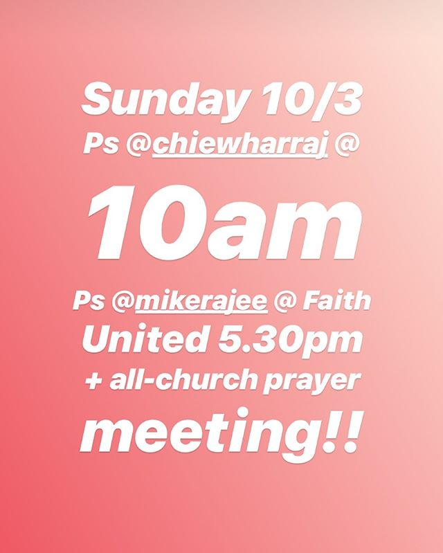 GREAT SUNDAY coming up with Ps Chiew Har at Monash at 10am. Ps Mike Raj at the 5.30pm Faith United Service. Haven't these two amazing people been such a blessing and encouragement to us through this season!! 👏🏼👏🏼👏🏼 We look forward to seeing you!!