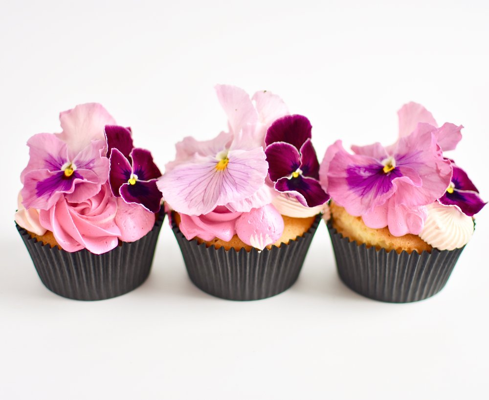 STANDARD SIZE EDIBLE FLOWER CUPCAKES  From: $4.80 each  Minimum Order Quantity : 12 Per Flavour