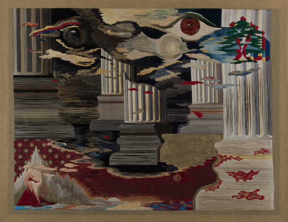 "Nicolas Moufarrege,  Le sang du phénix  [The Blood of the Phoenix], 1975. Thread and pigment on needlepoint canvas. 49 7/8 x 64 inches. Image and work courtesy Nabil Moufarrej and Gulnar ""Nouna"" Mufarrij, Shreveport, Louisiana."