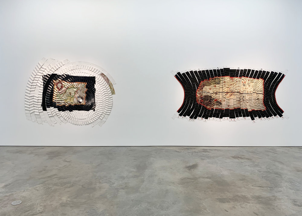 (left)  Las estrellas nos guían,  1992-93 Cibachrome mounted on pleated canvas and push pins 112 9/16 × 91 5/16 in. (286 × 232 cm.)  (right)  Le premier voyage a l'inconnu,  1993-1994. Cibachrome pencil and acrylic mounted on pleated canvas with push pins, 125 15/16 x 62 15/16 in. (320 x 160 cm.)