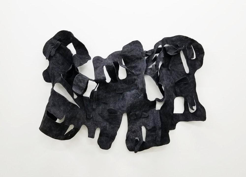"Bonny Leibowitz, The Unraveling, 42"" x 58"" x 12"", dyed, semi-rigid poly foam, 2018"