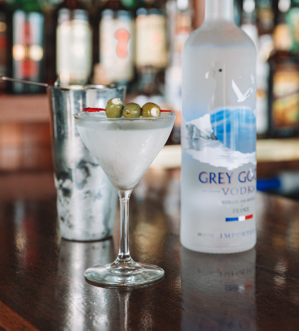 Chilled Grey Goose Vodka Dirty Martini