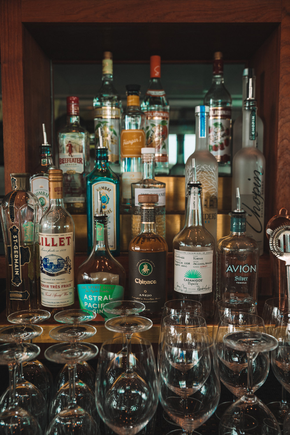 The Lobster's gin and liqueur selection