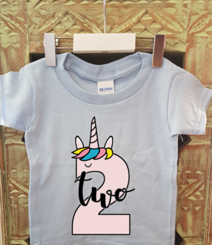 Toddler Second Birthday Unicorn Number T Shirt