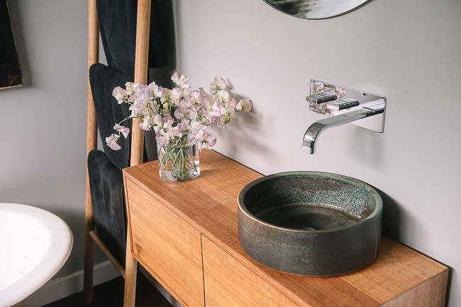 Handmade ceramic basin by Lindsey Wherrett