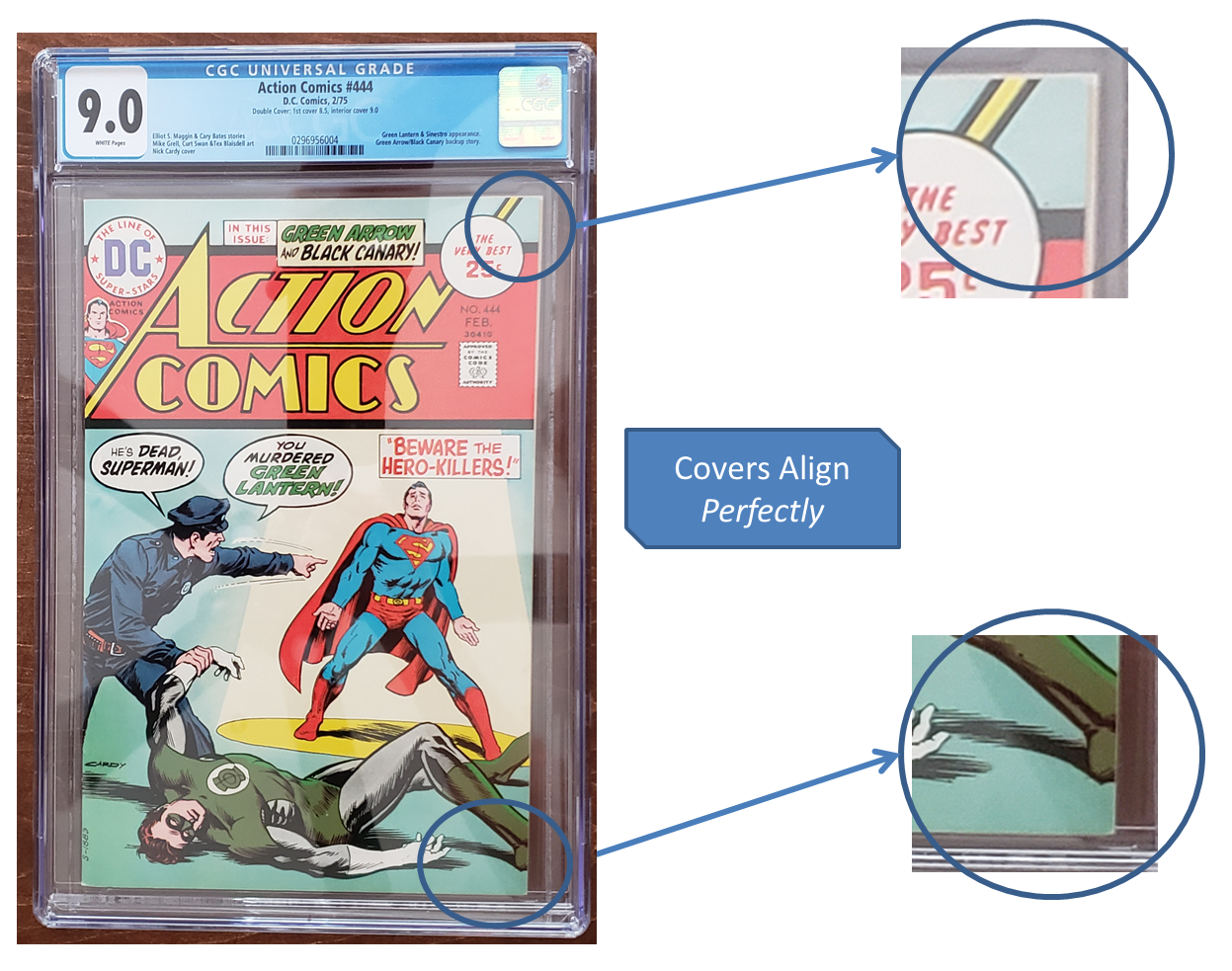 Tip #2to Identify a Fake Double Cover: The front andback covers aren't aligned Action Comics #444 CGC Double Cover 1