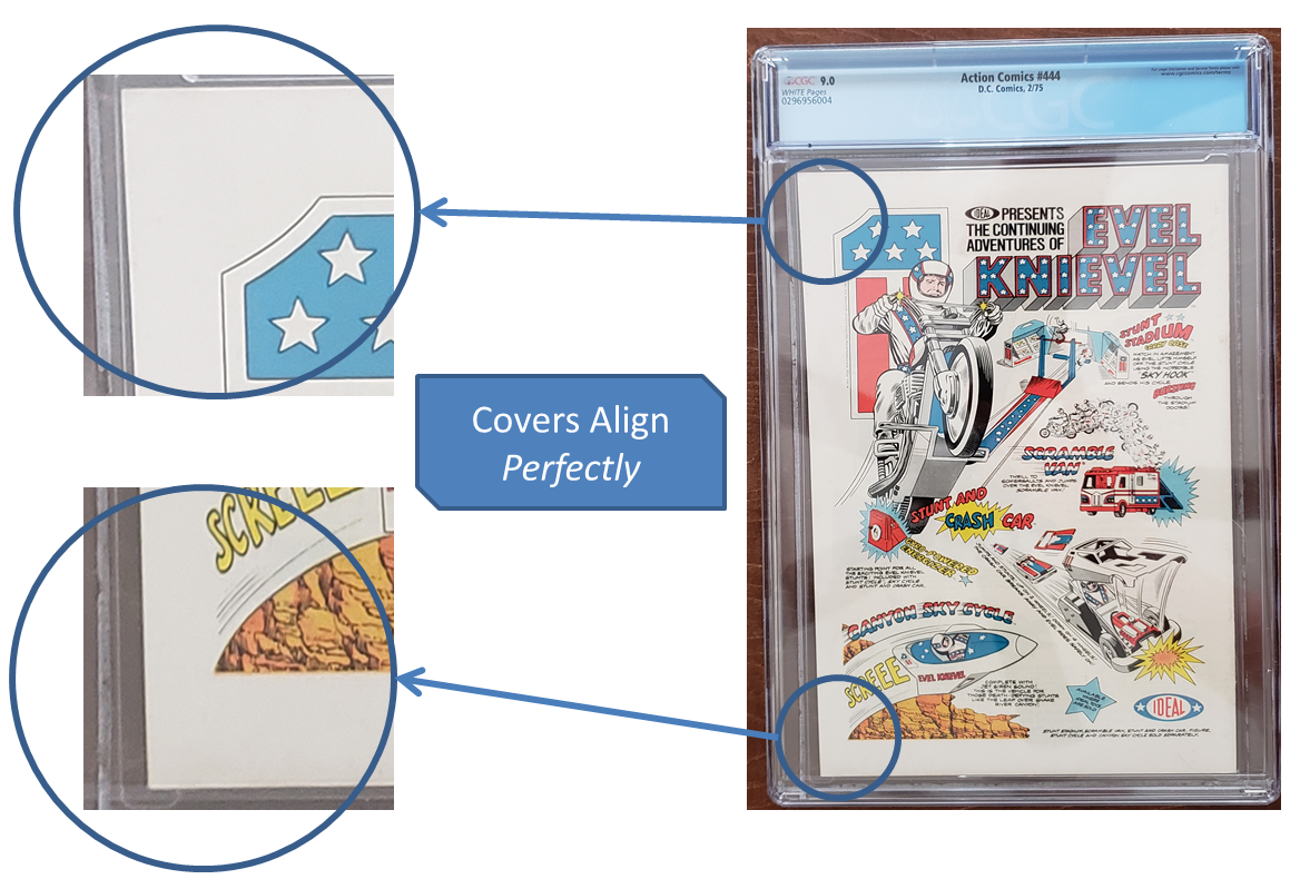 Tip #2to Identify a Fake Double Cover: The front andback covers aren't aligned Action Comics #444 CGC Double Cover 2