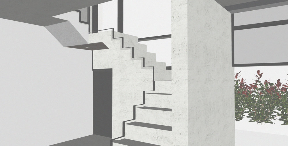 This pre-cast concrete staircase features at the entrance of the house, leading up to a mezzanine-style first floor.