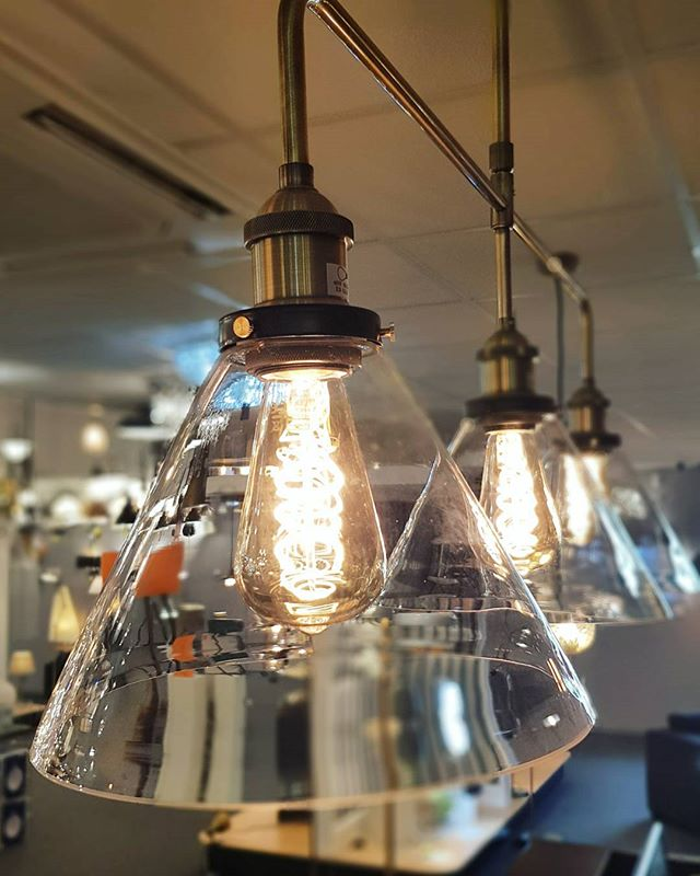 - N E W - I N - 3 light Ray bar, looking beautiful over our work desk! - - - - #cornwall #lighting #countylights #kernow #penzance #lightingshop #industrialdecor #interiors #showroom #shoplocal #lights #vintagebulb #edisonbulb