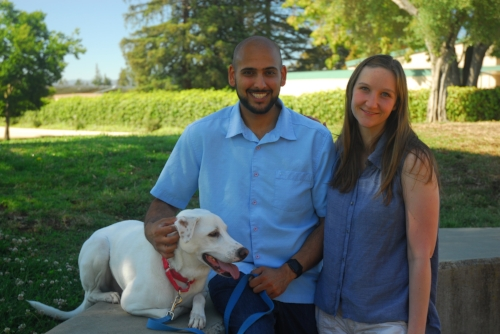 Shounak, his wife Laura, and their dog Odo