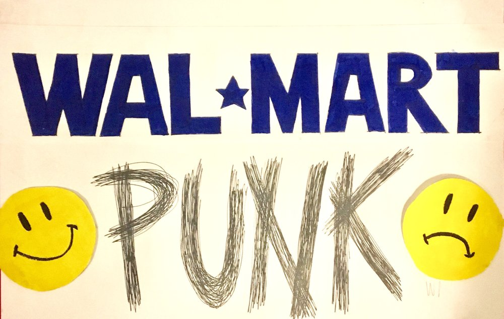 Walmart Punk - Walmart Punk is a Toronto artist and activist working primary with illustration and sculpture. Her art is controversial and political, often showing the realities of capitalistic decay.IG: @walmartpunk