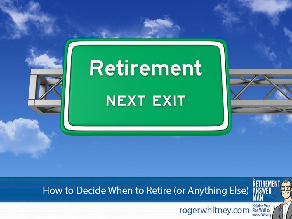 how to decide when to retire (or anything else). Road Sign with RETIREMENT and Sky