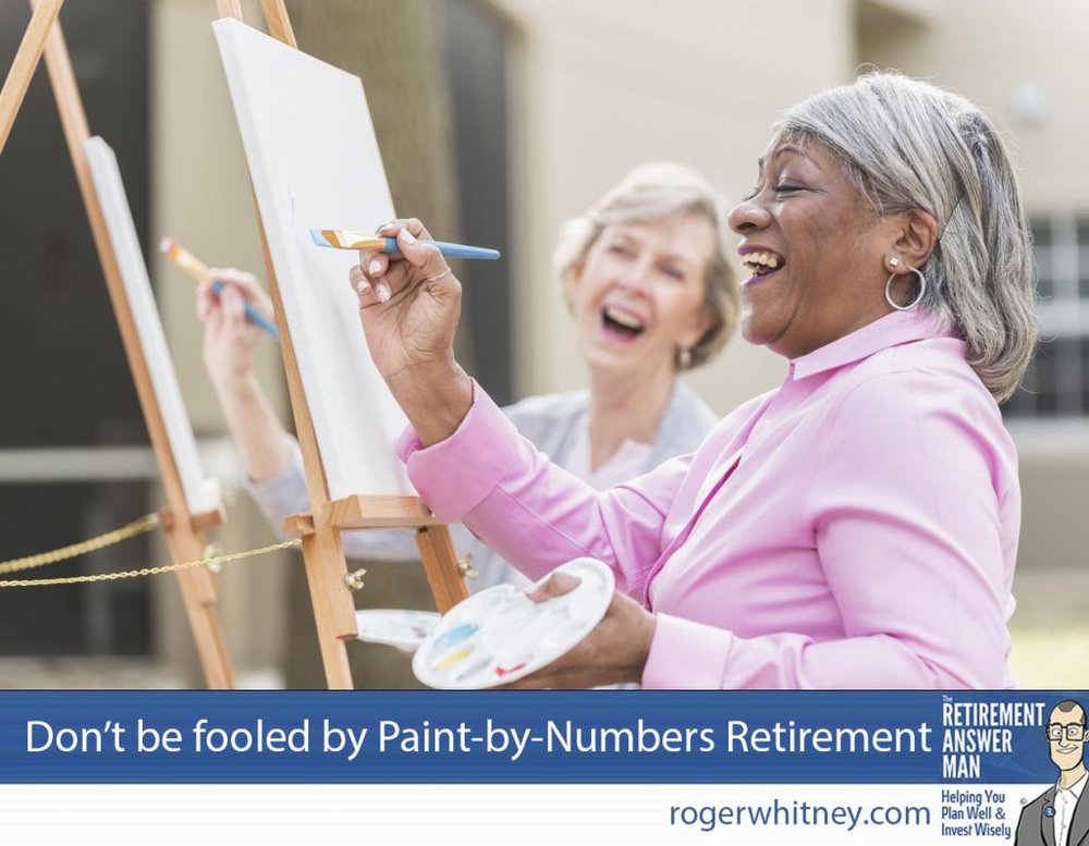 Paint-by-Numbers Retirement has been the standard for financial planners for years. Don't let it fool you into missing out on life. Two multi-ethnic senior women sitting outdoors at easels painting pictures on canvases. The focus is on the African American woman who is holding a paintbrush and looking up at her artwork as she laughs.