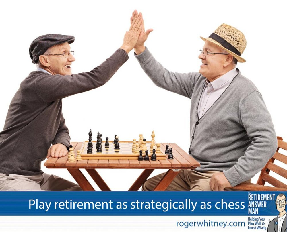 Strategic retirement is like a game of chess. If you look out too far or not far enough, you'll probably suffer for it. Two senior pals playing chess and high-five each other isolated on white background