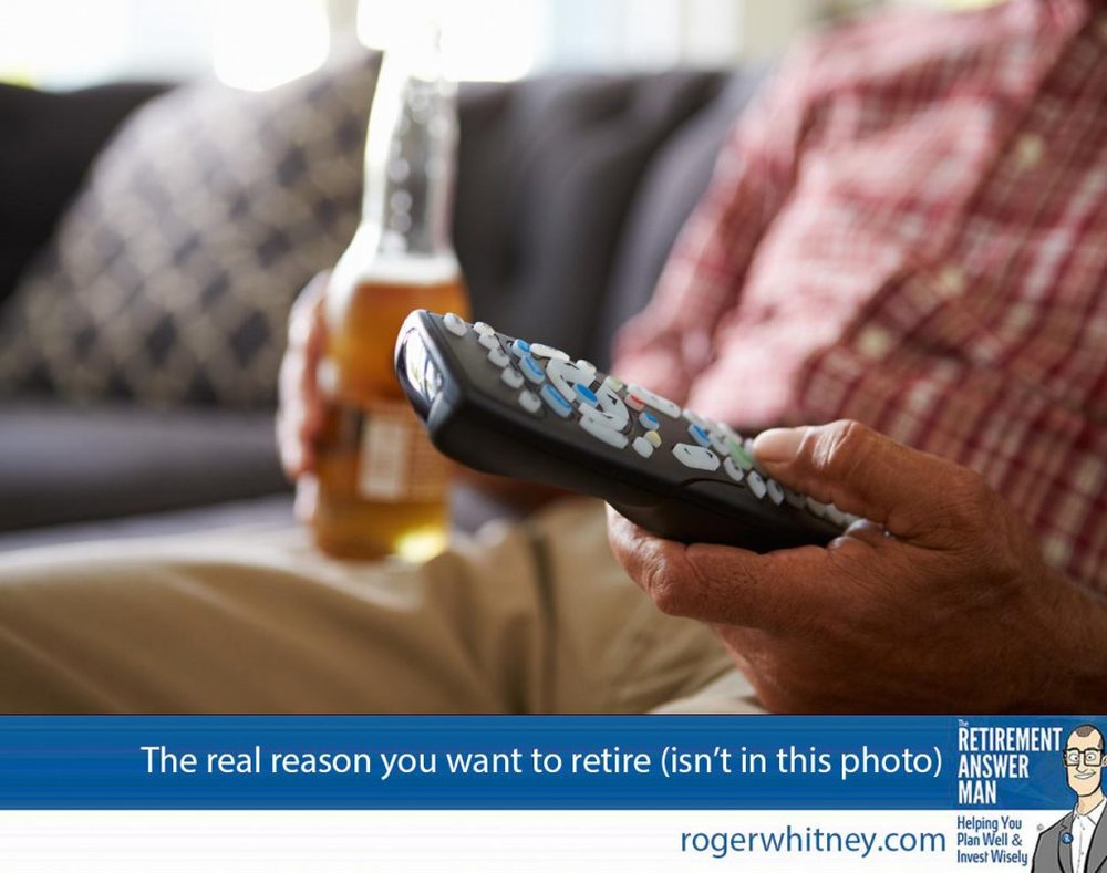Reasons to retire for most people don't include watching more television, but that's exactly what happens to most people. Man Sitting On Sofa Holding TV Remote And Bottle Of Beer