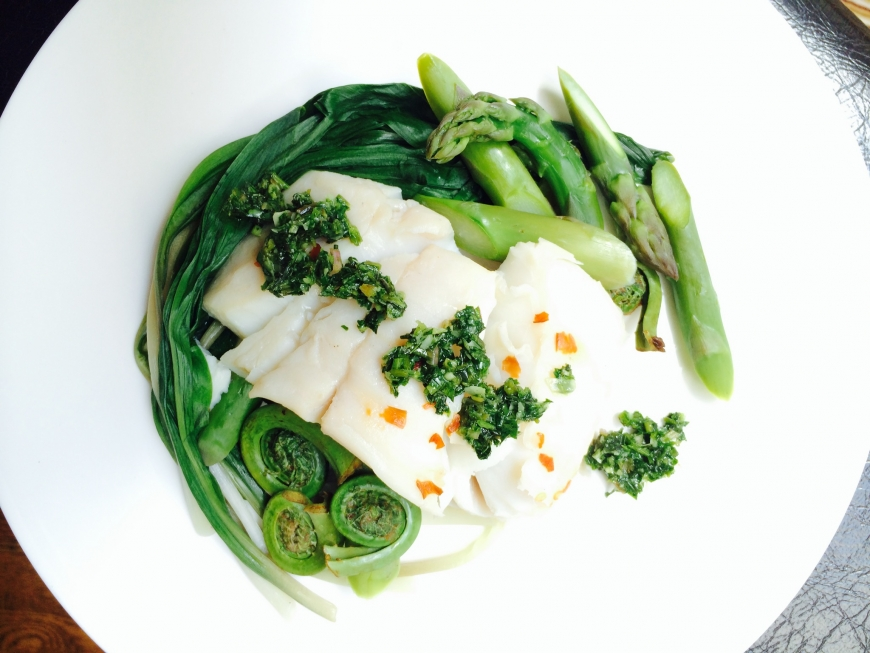 Steamed Fish with Wild Celery Pesto and Fiddleheads.jpg