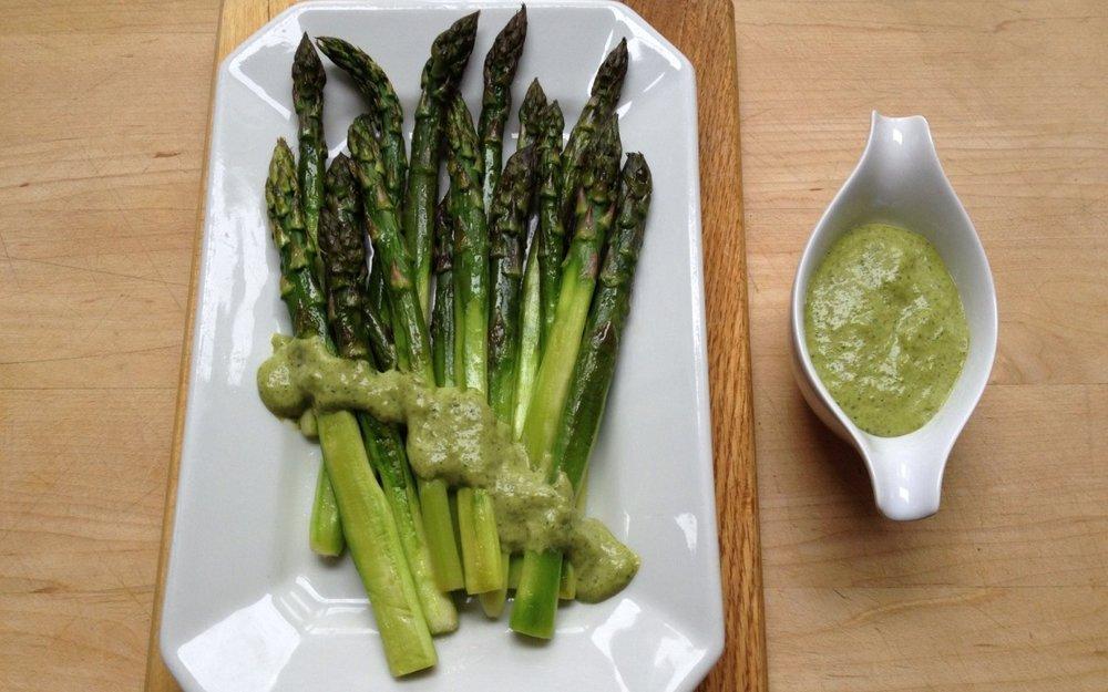 Asparagus with olive salsa and Parmesan crema.jpg
