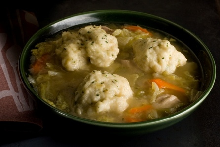 Chicken Soup with Chive Dumplings, Carrots, Parsnips, Turnips, Spinach.jpg