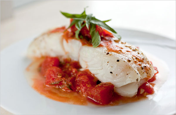 Braised Halibut with Fresh Tomato Sauce and Snow Pea Greens.jpg