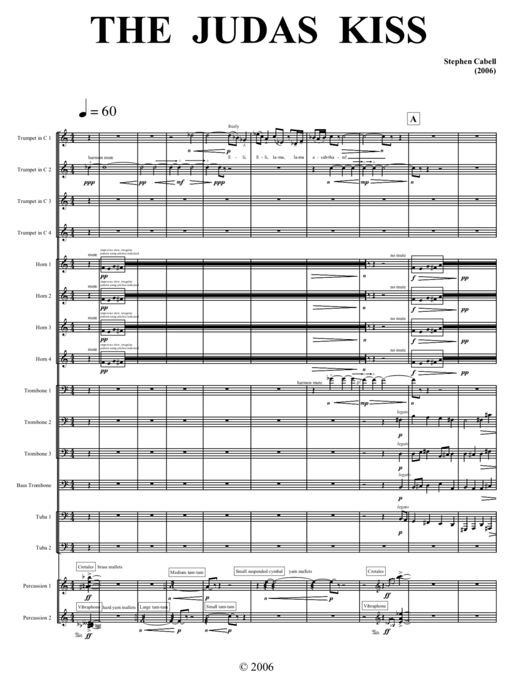THE JUDAS KISS full score: page 1