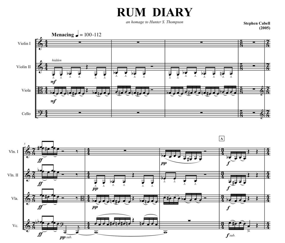 RUM DIARY full score: page 1