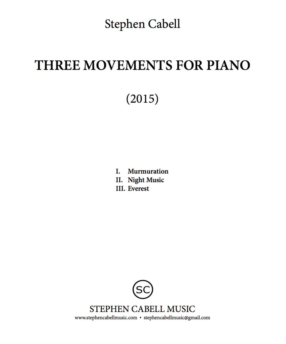 THREE MOVEMENTS FOR PIANO title page