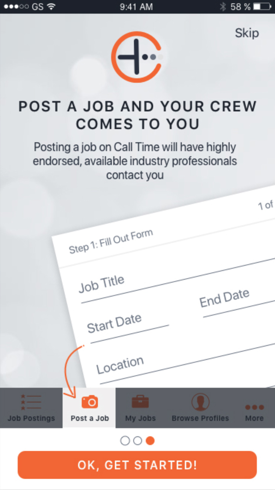 App Screenshot: Posting A Job