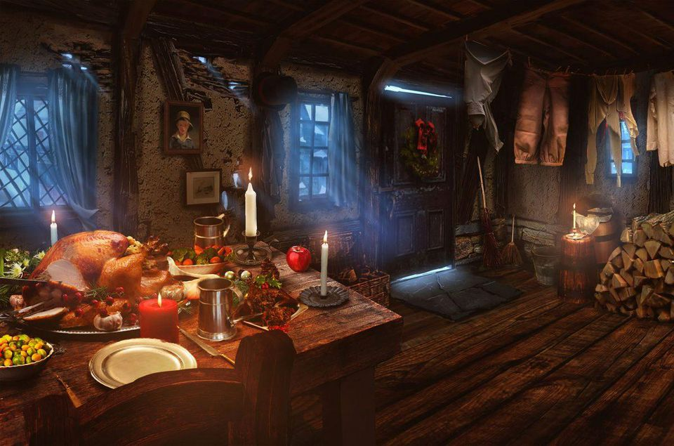 Environment for Ghost of the Present in 'Chained' - Aaron Sims Creative
