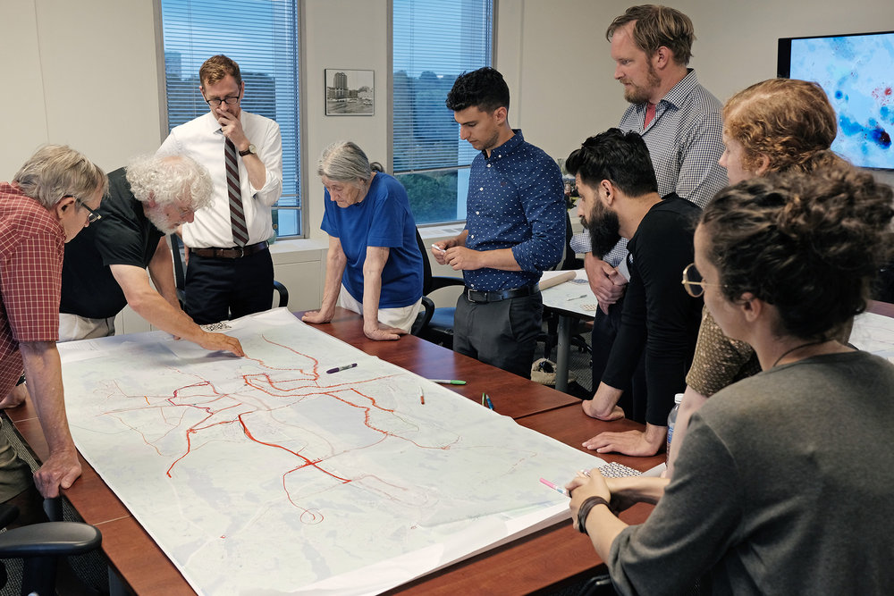 Members of the concept team work together on preliminary route design.