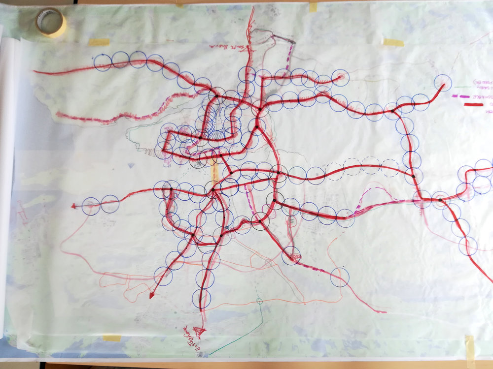 Preliminary transit route sketches showing catchment areas.