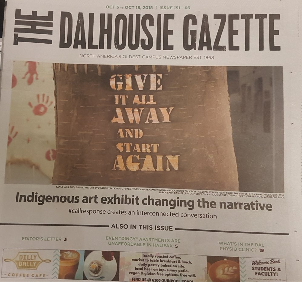 - The success of the Art Gallery's current exhibit, #callresponse, is creating buzz around town. Featured here in The Dalhousie Gazette. #callresponse runs until November 18th - don't miss out!