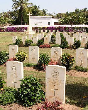 Headstones of fallen servicemen in the Fajara War Cemetery, The Gambia.