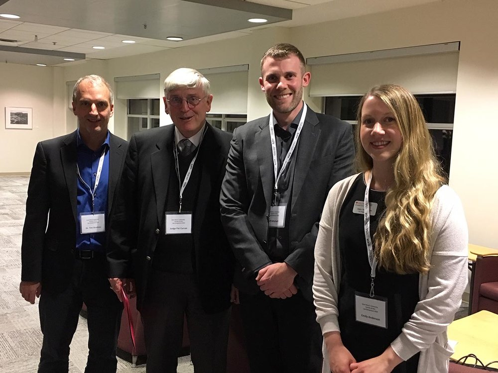 Left to right: Dr. Tim Stretton, SMU History professor; the Honourable Judge Patrick Curran of the Halifax Provincial Court (a SMU alumnus); lawyer Jeff Mitchell of Nova Injury; Emily Anderson, BA Student Advisor.