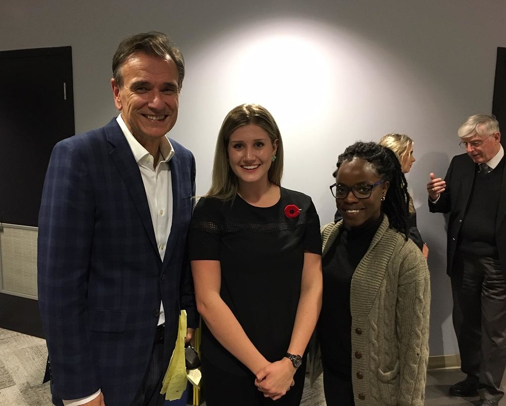 Left to right: Michael Deturbide, Schulich School of Law chats with law student and SMU alumna Sydney Hall (BA '17); current student Crystal Witter.